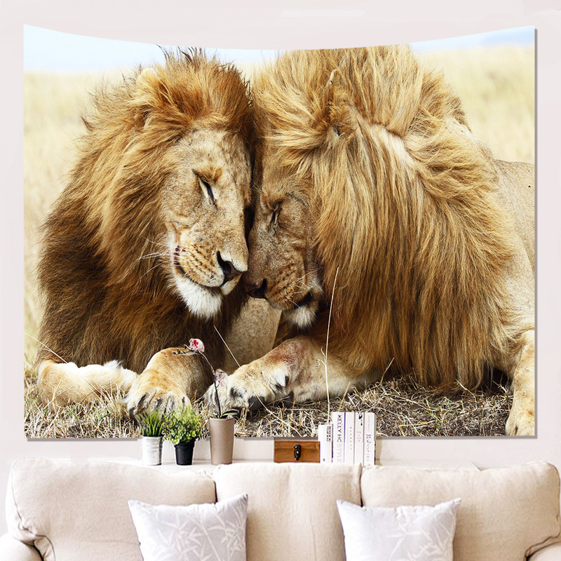 3D Lion Print Tapestry for Wall