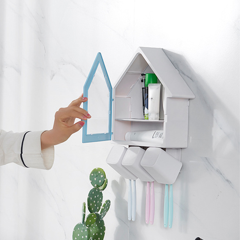 Adorable House-Shaped Dental Care Necessities Rack for Family Use