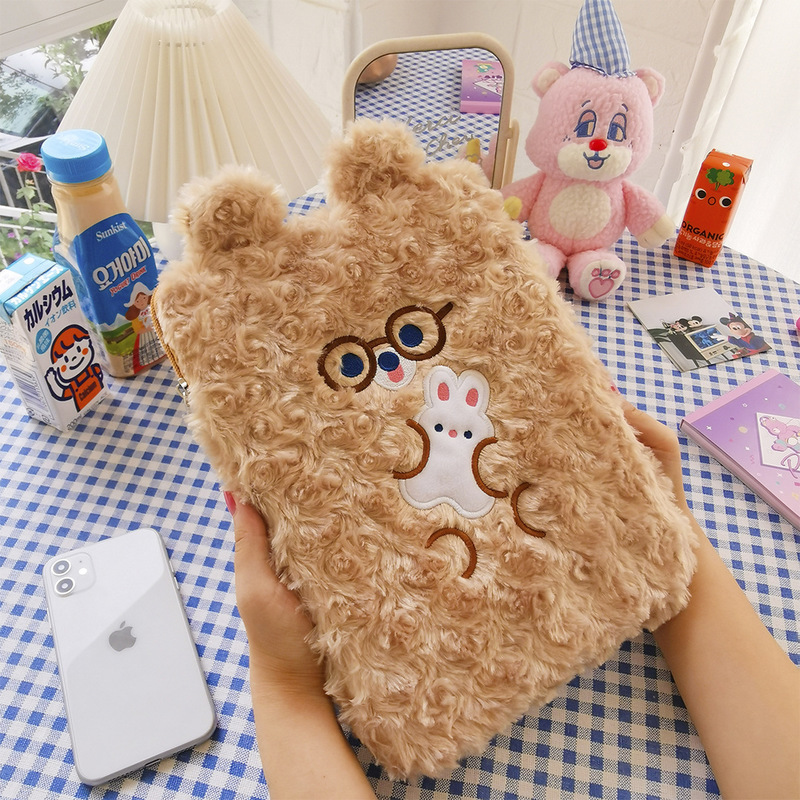 Adorable Artificial Wool Tablet Purse for Holding Your Necessities