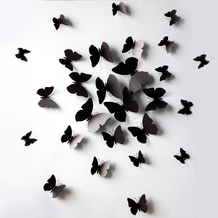 Romantic 3D Butterfly Wall Art (Set of 12) for Party Decoration