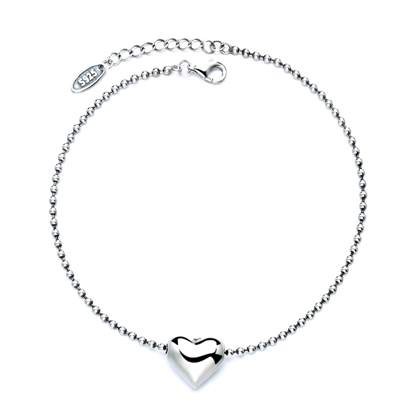Dazzling Heart Pendant Anklet for Casual Wear