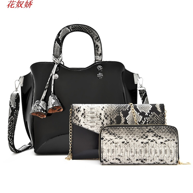 Fashionable Three-Piece Snakeskin Bag Set for Daily Use