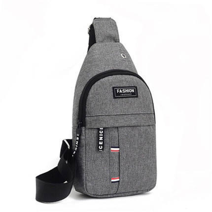 Basic Diagonal Nylon Chest Bag with Earphone Hole for Listening to Music While Walking