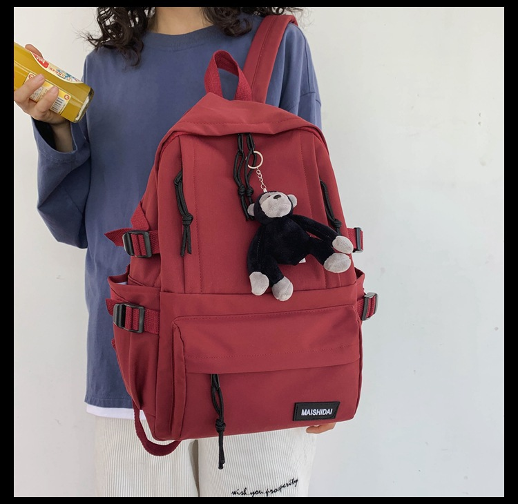 Simple Solid Color Backpack for Everyday School Use