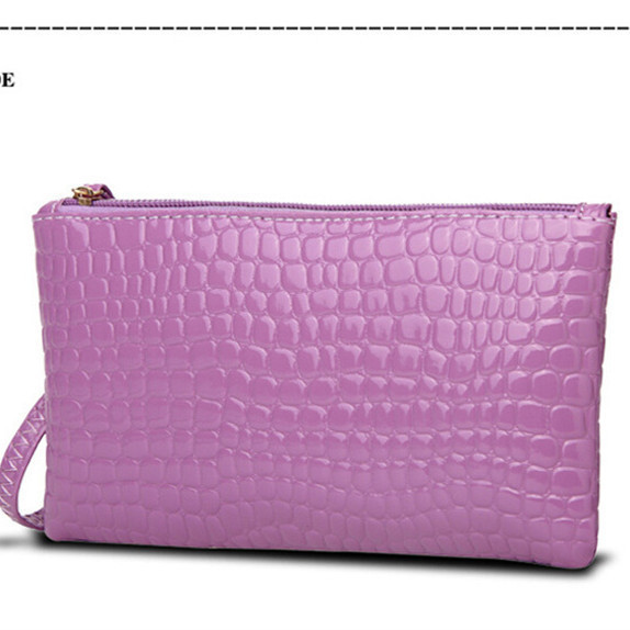Glossy Faux Croc Skin Long Wristlet for Holding Mobile Phones and Cash