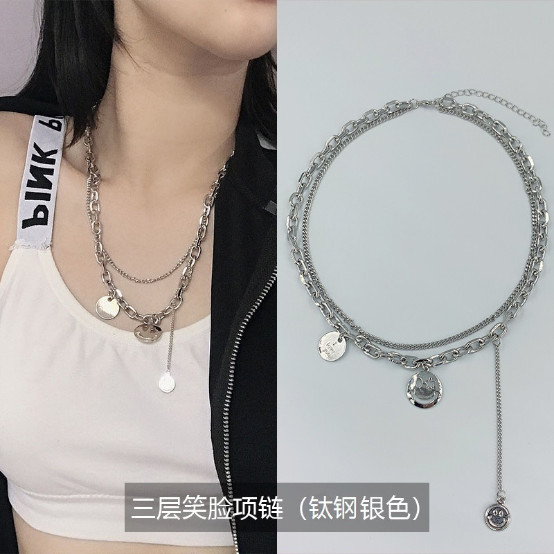 Adorable Layered Chain Necklace with Smiley and Love Charms for Everyday Wear