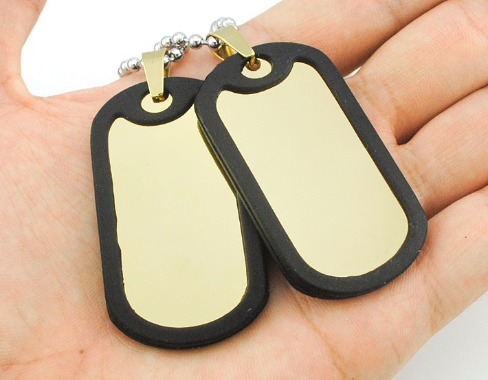 Stainless Dog-Tag Pendant Round-Bead Chain Necklace for Your Hip-Hop Get-Up
