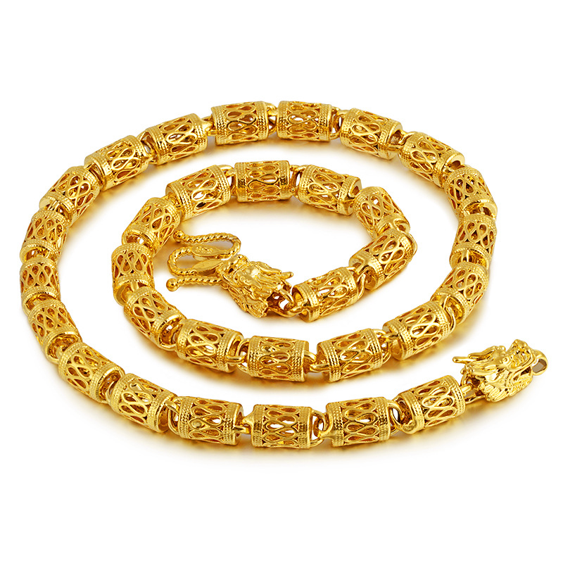 Luxurious Gold-Plated Hollow Necklace for Men's High-Class Outfits