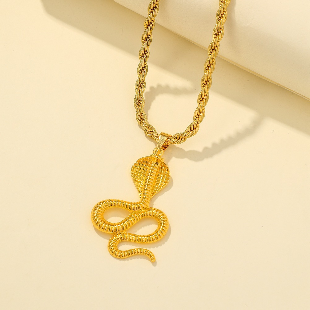 Slithering Snake Pendant Chain Necklace for Night Outs