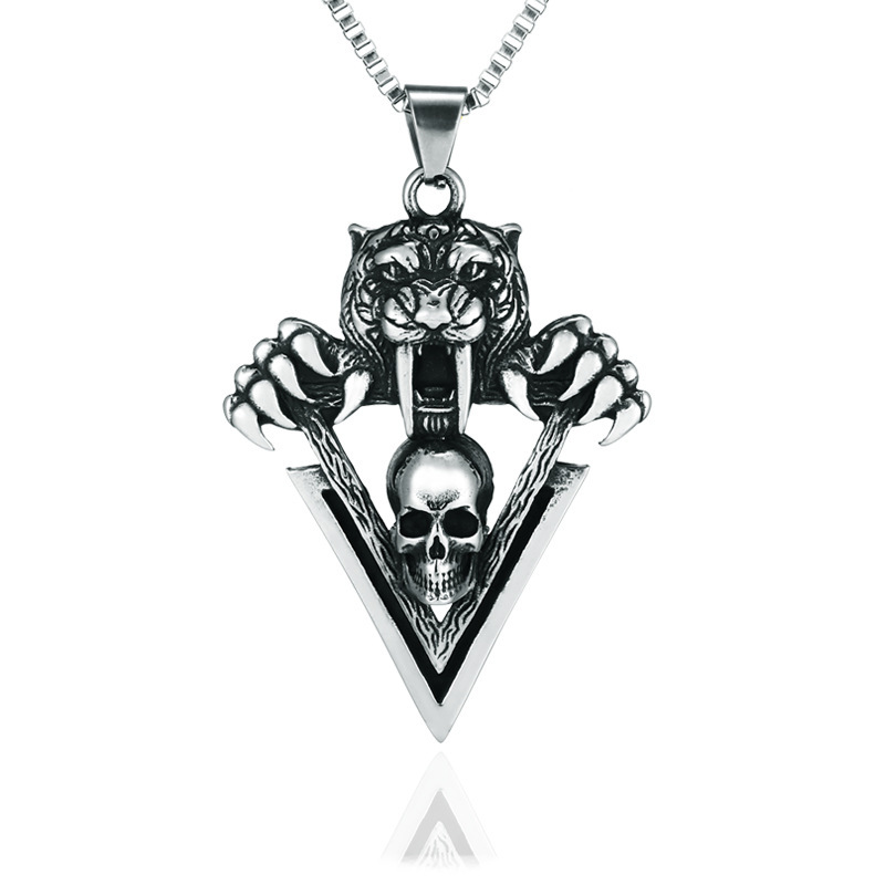 Eerie Skull and Tiger Pendant Necklace for Eccentric Looks