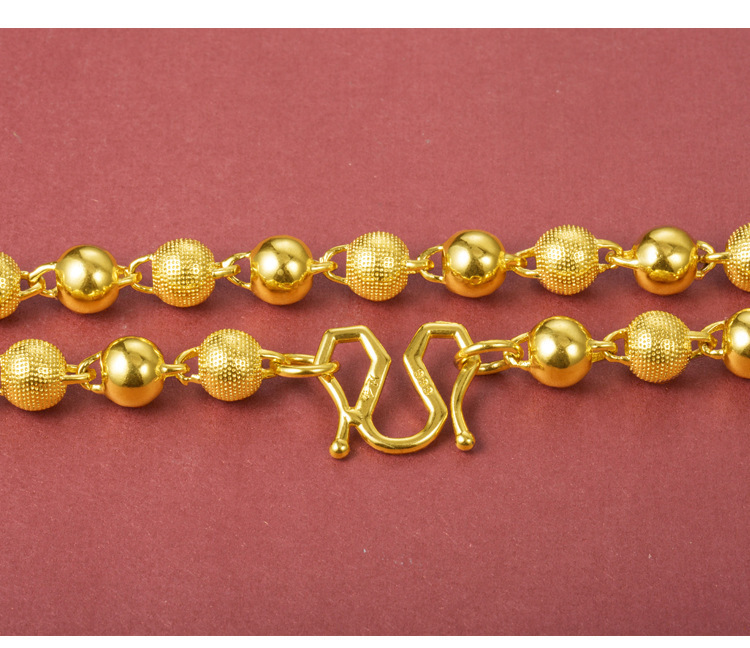 Fancy Solid Sand Gold-Plated Necklace for Dinner Party Accessories