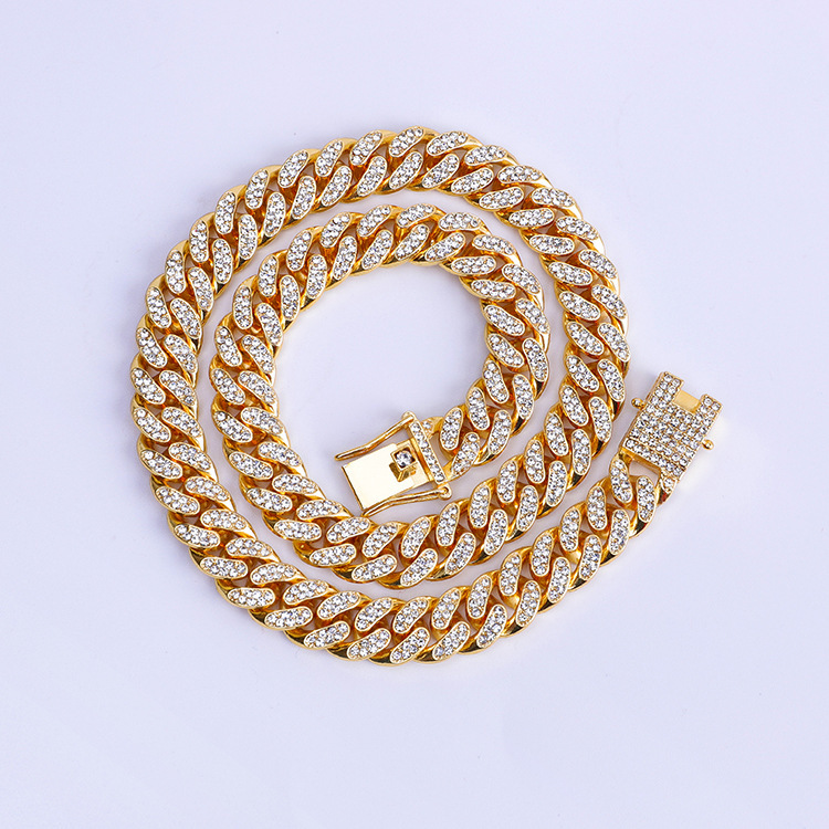 Sparkly Adorned Cuban Alloy Chain Necklace for Glam Outfits