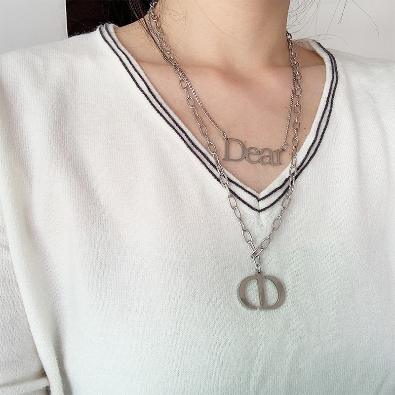 Non-Fading Double Layered Long Chain Necklace for Hip-Hop Fashion Wear