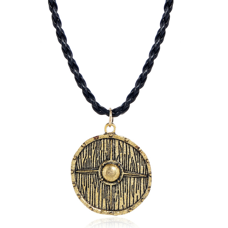 Viking Style Necklace with Circular Pendant for Men