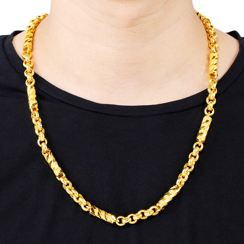 Cylindrical Twisted Gold-Plated Necklace for Lavish Fashion Outfits