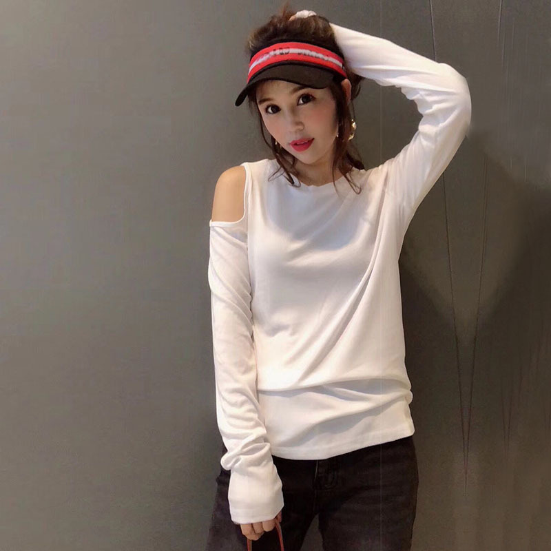 Solid Colored Long Sleeve Cold Shoulder Sweater for Casual Chilly Weather Outfits