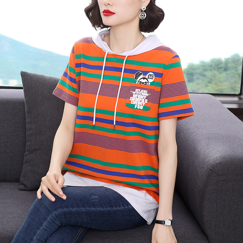 Vibrant Striped Hooded Cotton Shirt for Strolling in the Park