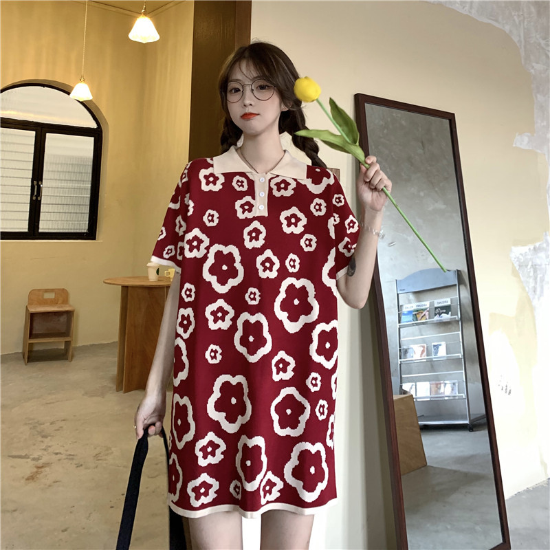 Bold Floral Print Polo Dress for Women's Chic Casual Wear