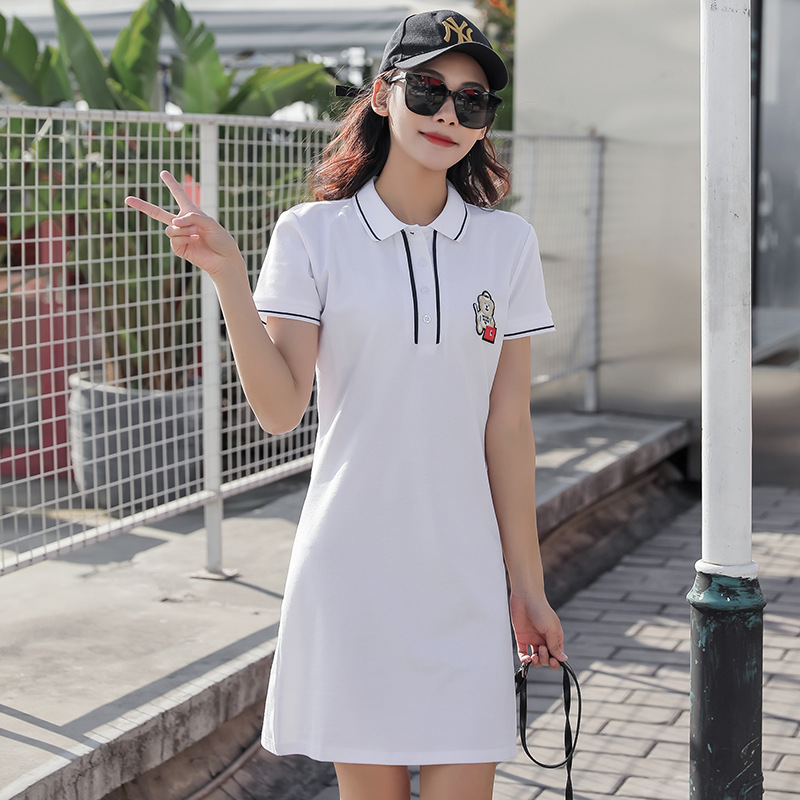 Casual Bear Embroidered Polo Dress for Lazy Days