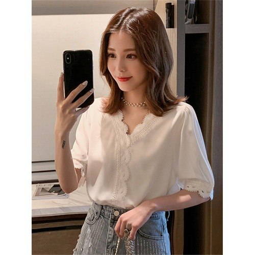 White Lace V-Neck Blouse for Smart Casual Outfit Ideas