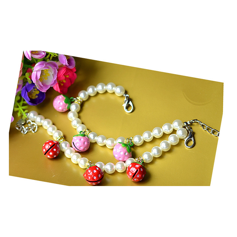 Strawberry Pearl Necklace for Pets' Accessories