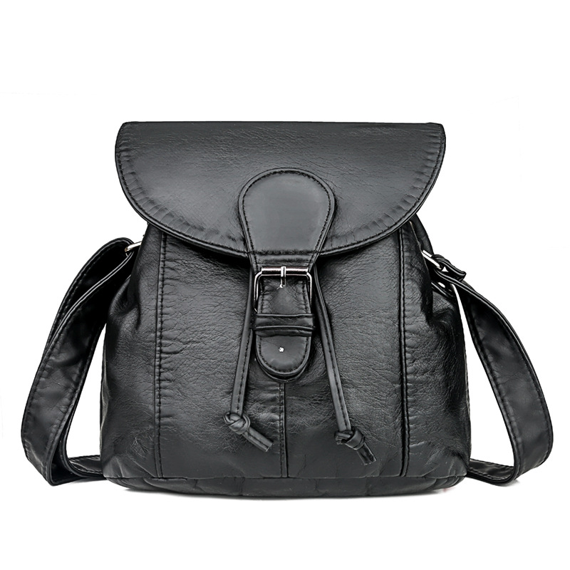 Soft Leather Drawstring Backpack for Retro Fashion