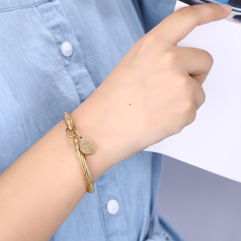 Thick Polished Gold-Plated Bracelet with Pendant for Prep and Formal Parties