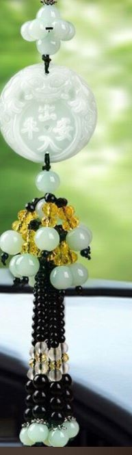 Simple Faux White Jade Hanging Pendant for Car Decorations