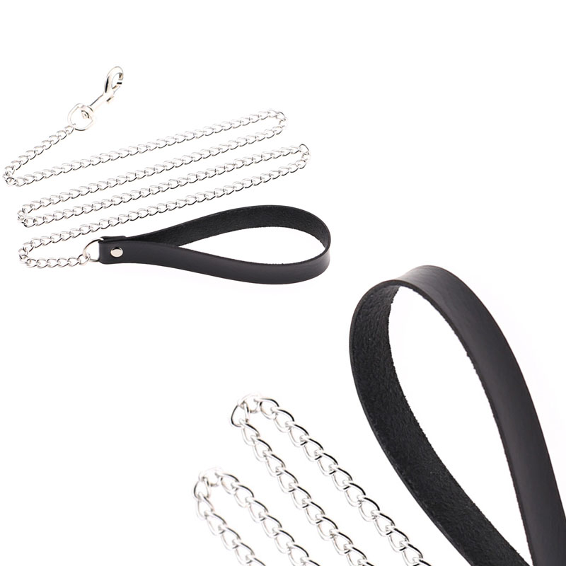 Simple Long Silver-Colored Alloy Leash with Black Handle for Walking Dogs