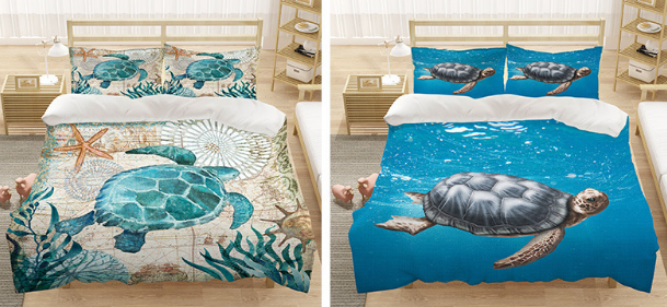 Stunning Turtle Print Bed Sheets for Kid's Ocean-Themed Room