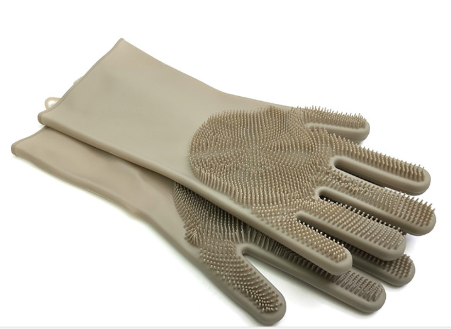 Reusable Elastic Gloves with Built-in Bristles for Cleaning Sink and Kitchens