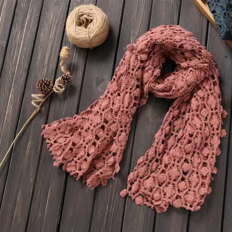 Hollow Full-Laced Neck Scarf for Pre-Spring Season