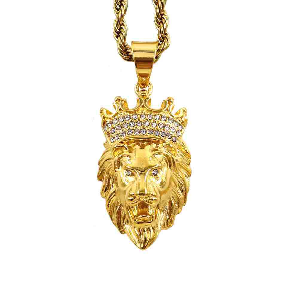 Golden Stainless Steel Lion Head Pendant with Rhinestone Crown for Necklace Pendants