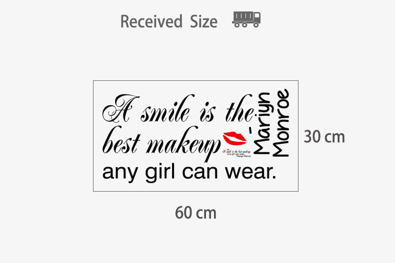"""""""A Smile Is The Best Makeup Any Grl Can Wear"""" Sticker for Girly Wall Decor"""