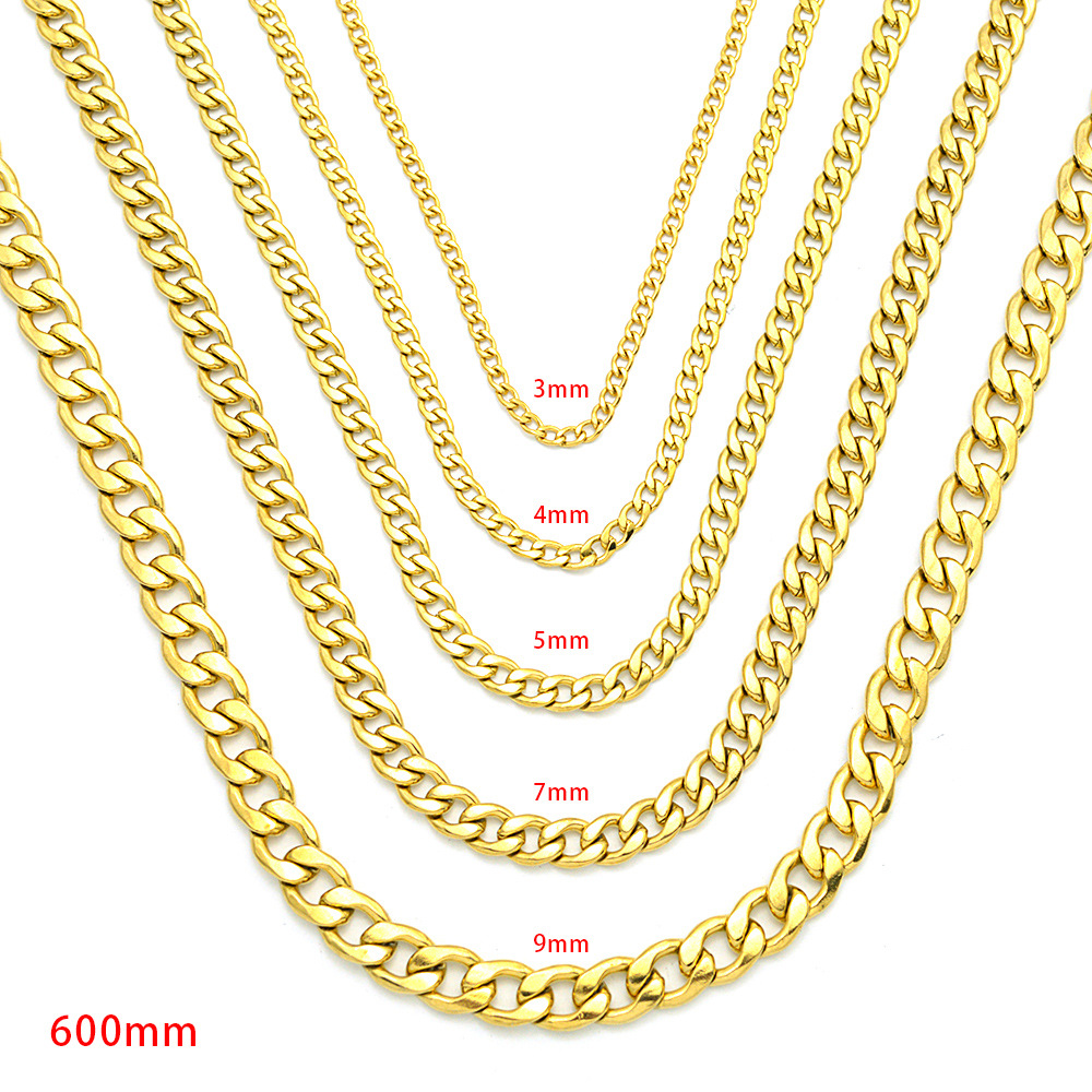 Stainless Steel Hip-hop Gold Chain Necklace for Fashionable Wear
