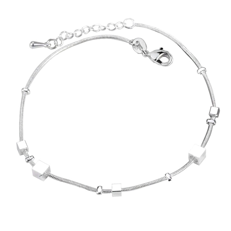 Silver Cubes Anklet