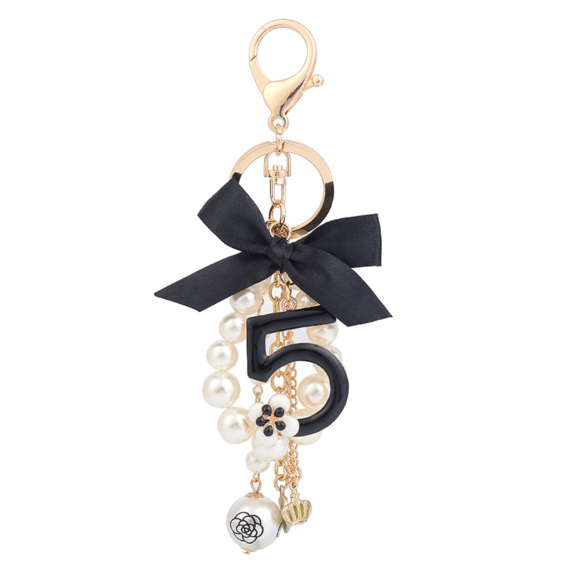Fancy No.5 Beaded Keychain for Keys