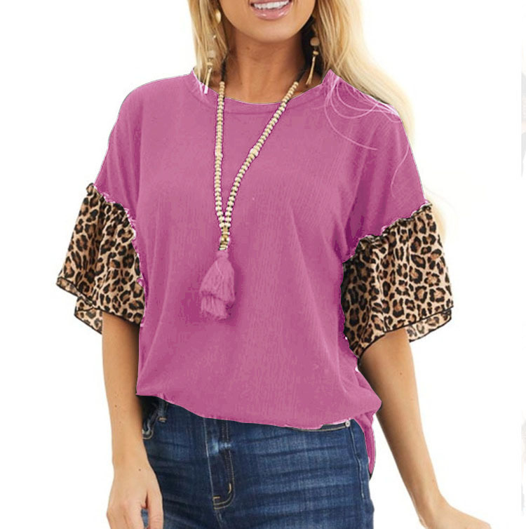 Lovely Loose Fit Shirt with Ruffled Leopard Print Sleeves for Trendy Casual Wear