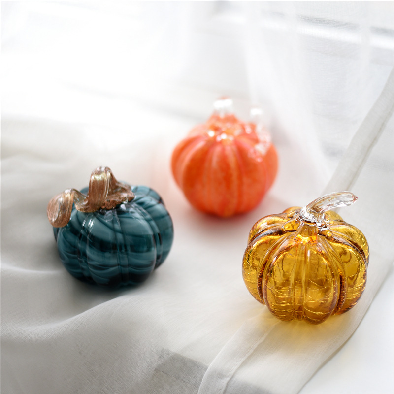 Tinted Glass Pumpkin Table Ornament for Stylish Kitchen Counters