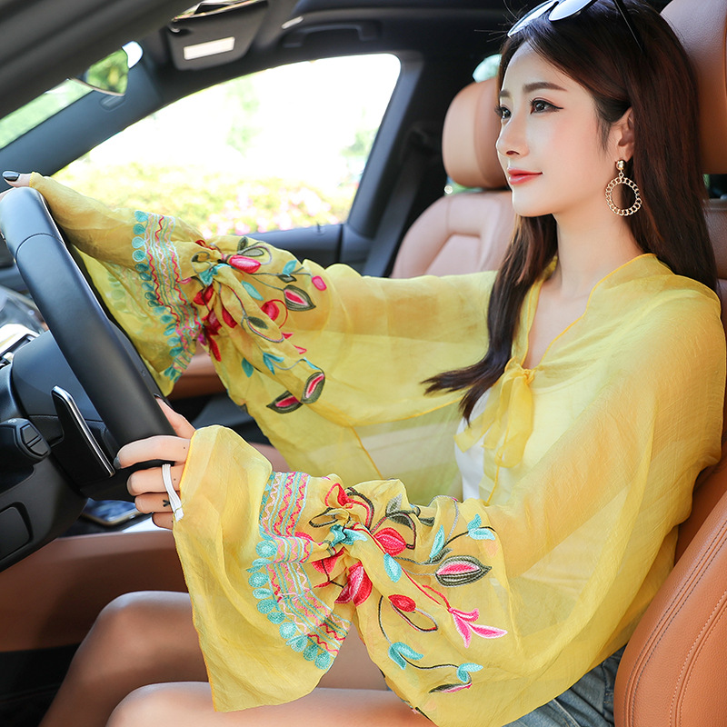 Vibrant Floral Chiffon Scarf with Sleeves for Lovely Summer Outfit