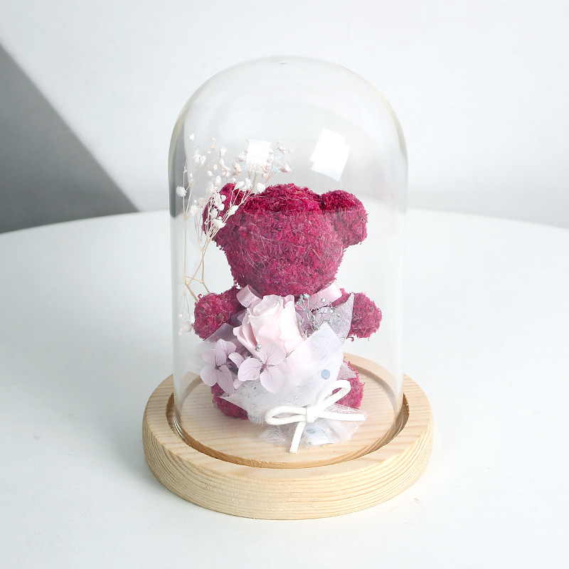 Adorable Bear with Roses in a Dome for Display