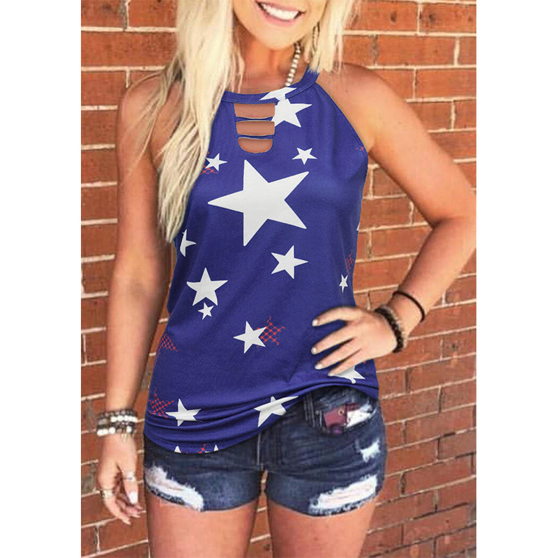 Star Printed Neck Cut out Halter Top for Hot Summer Days