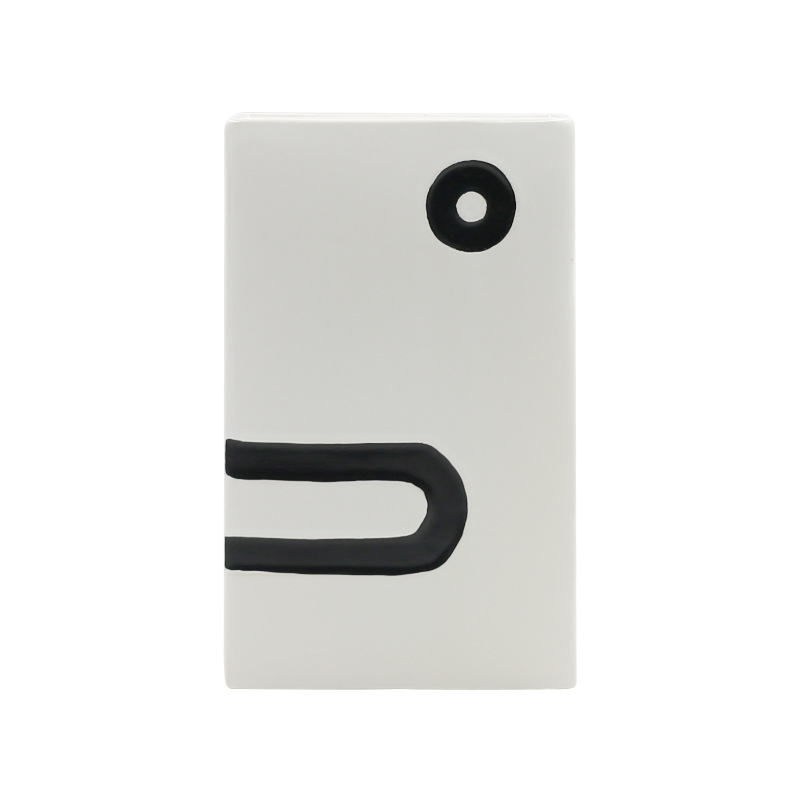 Abstract Ceramic Face Slim Storage Bin for Receipts and Small Documents