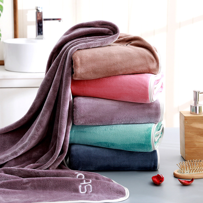 Smooth Bath Towel with Minimal Embroidered Designs