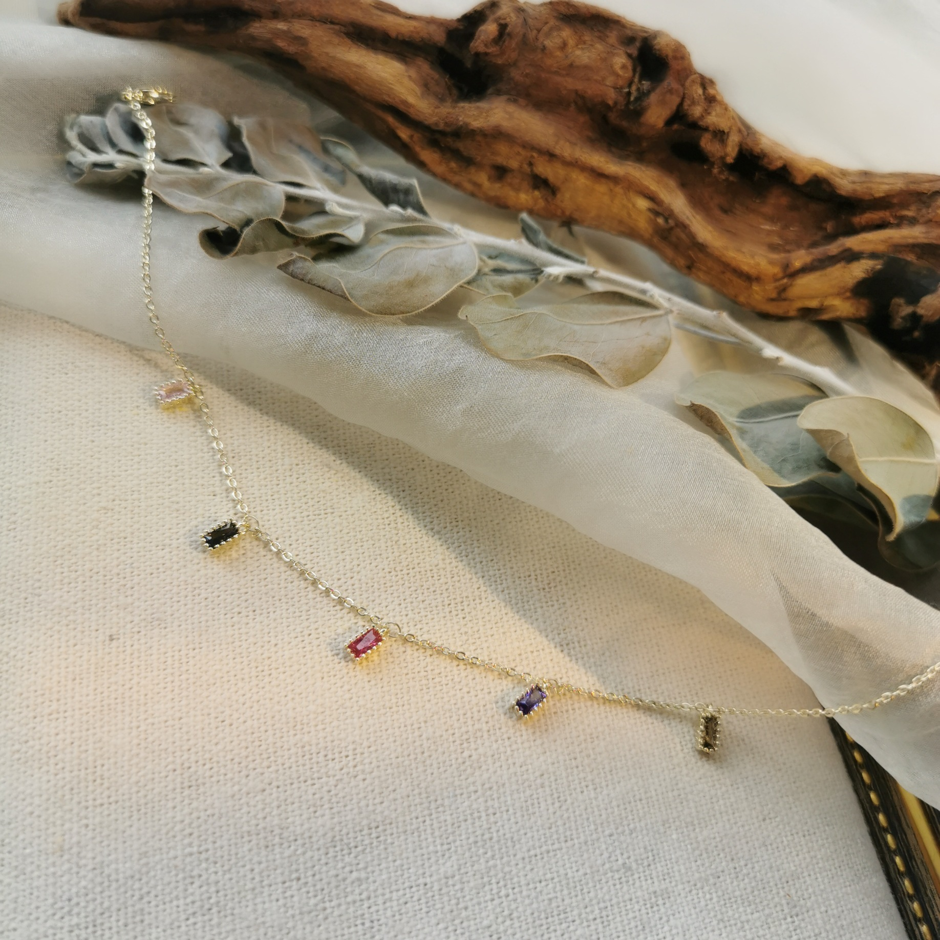 Mini Sparkly Copper and Zircon Opera Anklet for Tea Party