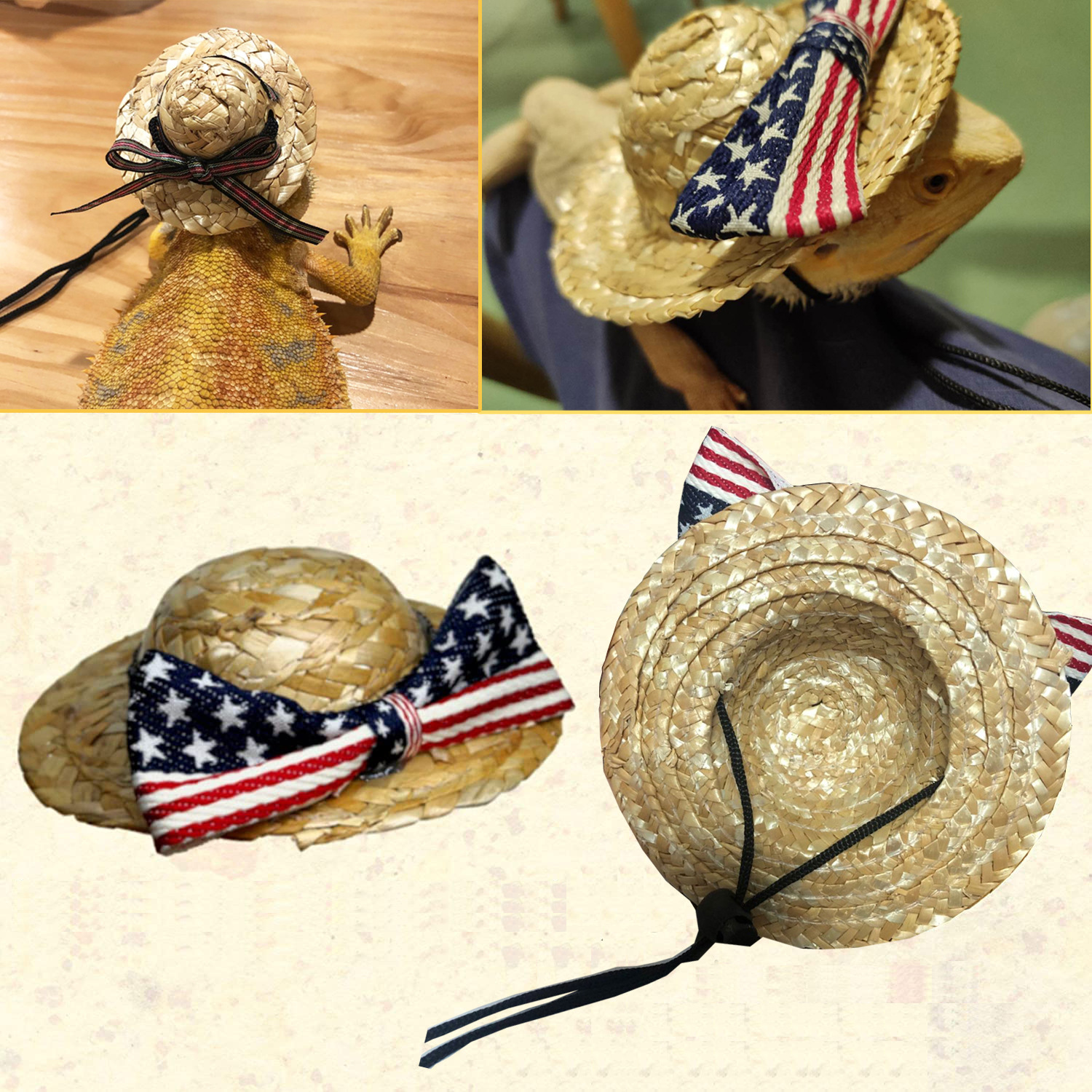 Mini Straw Hat with Bow and String for Pets Accessories