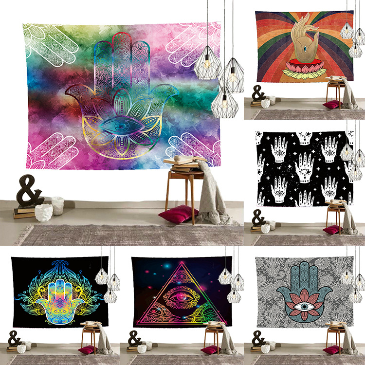 Hindu-Inspired Abstract Art Style Tapestry for Bed Wall Hanging Decoration