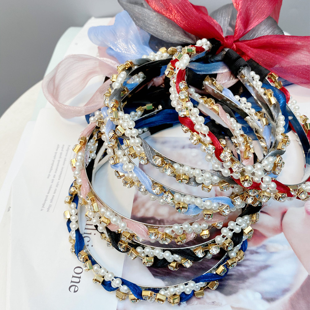 Fancy Headband with Faux Diamond and Beaded Pearl for Luxurious Outfits