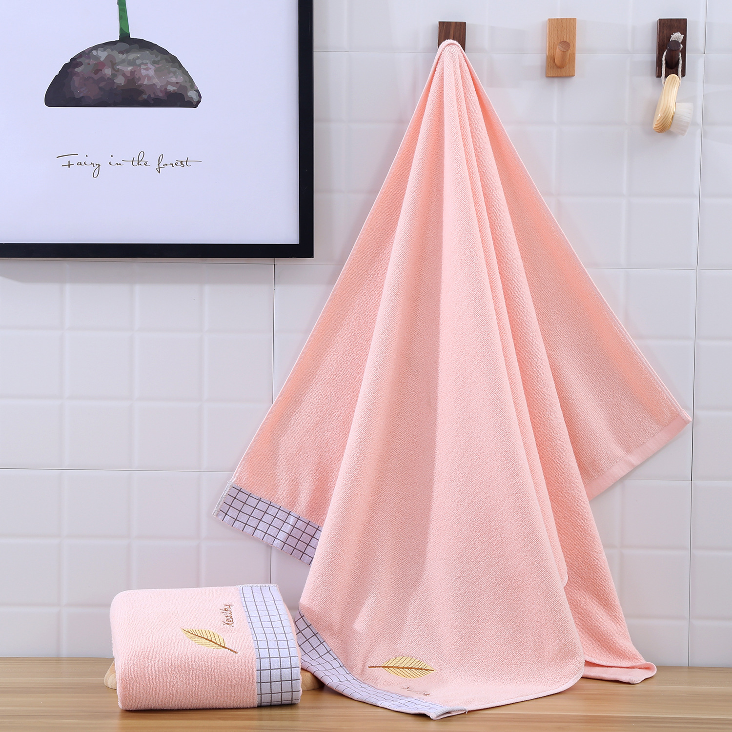 Soft Leaf Embroidered Cotton Towel for Daily Use