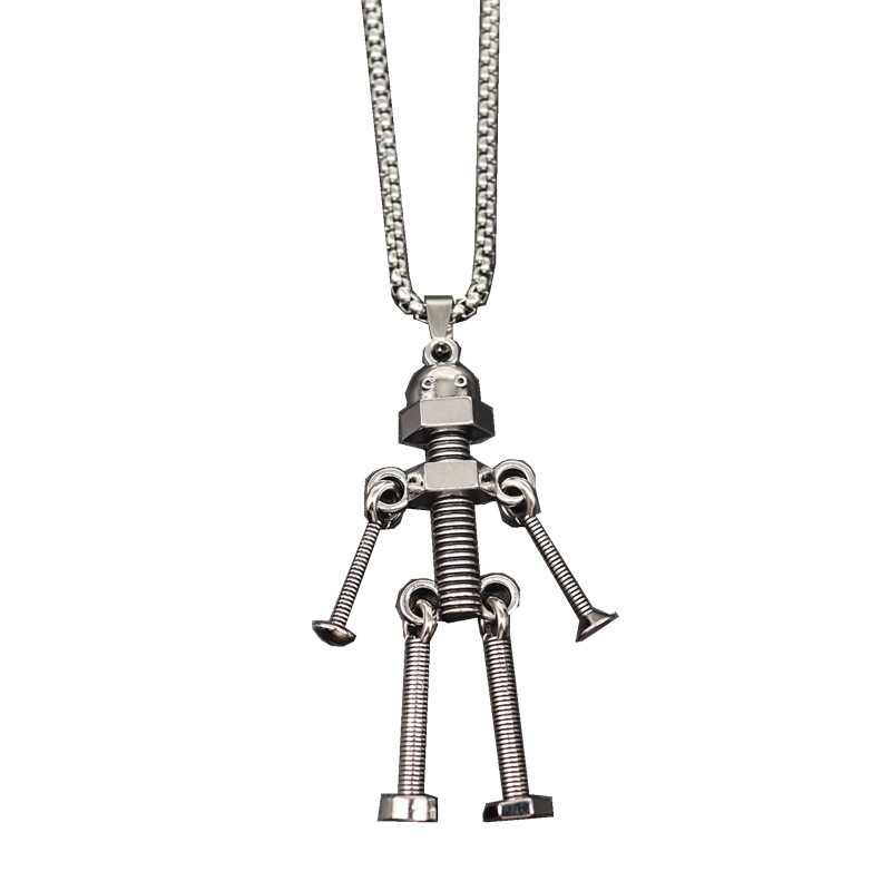 Creative Industrial Robot Pendant and Necklace for Playful Outfits